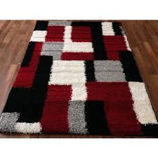 Modern Black Rug Contemporary Area Rugs Square Black White Blocks Pattern