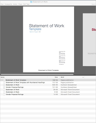 statement of work apple iwork pages numbers