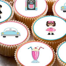 24 edible cake toppers decorations 50 s rock and roll grease theme