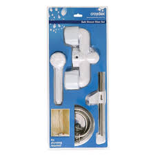Bath Shower Mixer Set Croydex Bathroom Bath Toilet Shower Tap Basin Tub Cube Hot Cold
