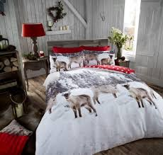 Brushed Cotton Duvet Cover Double Snow Reindeer Animal 100 Brushed Cotton Flannelette Printed Duvet