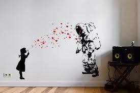 astronaut heart bubble love wall art decal street banksy zoom