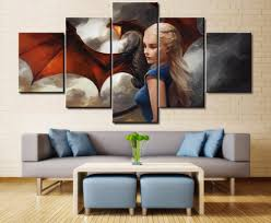 online shop 5 panels game of thrones dragon canvas paintings home
