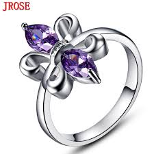 jrose wholesale fashion fleur de lis purple white gold color ring