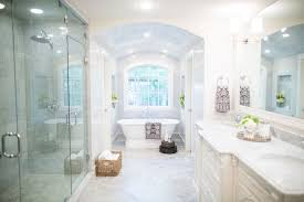 Spa Bathrooms by Fixer Upper Marble Countertops Marble Floor And White Cabinets