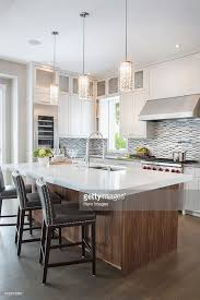 modern pendant lighting for kitchen island modern pendant lights wood kitchen island stock photo