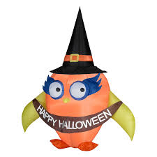 halloween airblown inflatable lawn decorations gemmy airblown halloween owl with banner inflatable halloween