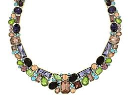 crystal necklace making images Off park collection multicolor crystal antiqued gold tone jpg