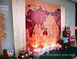 wedding backdrop tarpaulin travel theme decoration melaka purple event malaysia