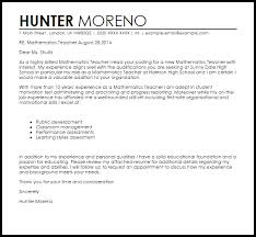 mathematics teacher cover letter sample livecareer
