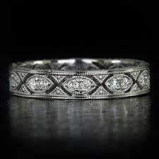 art deco eternity diamond wedding band stack able vintage antique