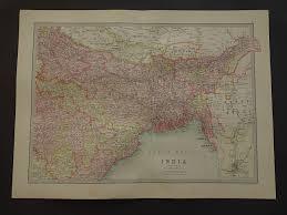 Calcutta India Map by India Map Large 1890 Original Old Antique Print Of Calcutta