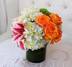orange roses stargazer mix