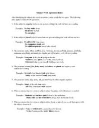 subject verb agreement rules 7th 8th grade lesson plan lesson