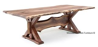 solid wood trestle dining table rustic table live edge table trestle base solid wood