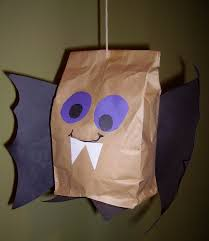 Halloween Decorations Arts And Crafts Brown Paper Bag Bat Kids U0026 Glitter