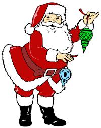 santa holding decorations santa santa clipart