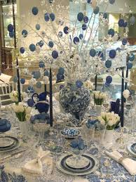 Home Decor Branches Christmas Party Table Decorations By Blue White Hanging Balls On F