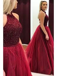 gown hatler beaded long burgundy prom dresses formal evening