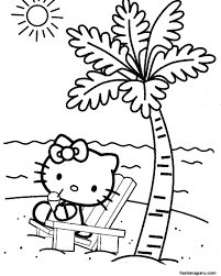 kitty christmas coloring pages pdf cute cat beach kids
