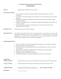 Resume For Teaching Job by Job Description For Substitute Teacher For Resume Resume For