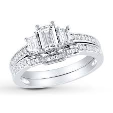 emerald cut wedding set diamond bridal set 1 ct tw emerald cut 14k white gold