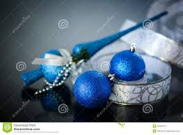 christmas card with blue balls and ribbon stock images image