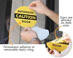 glass door signs automatic door signs and labels