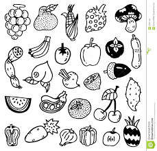 drawn vegetables fruit and vegetable pencil and in color drawn