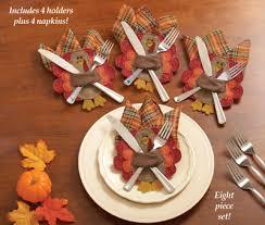 thanksgiving turkey silverware napkin holders set of 4 from