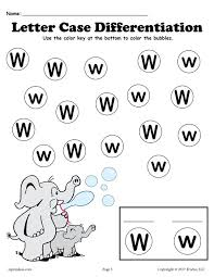 free letter w do a dot printables for letter case differentiation