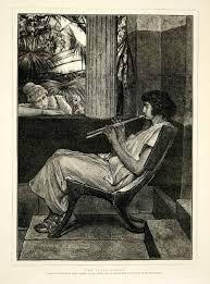 wood engraving 1874 wood engraving alma tadema flute player