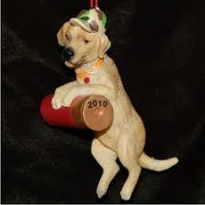 yellow lab personalized ornaments by