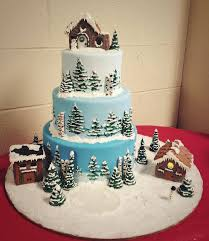 Decorating Cake Dummies Christmas Village Cake 3 Tier Display Cake Made With Cake