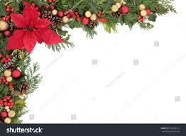 christmas winter floral border poinsettia flower stock photo