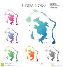 Map Of Bora Bora Set Of Vector Polygonal Bora Bora Maps Filled Stock Vector