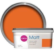 colours orange matt emulsion paint 2 5l departments diy at b u0026q