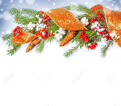 christmas decorations border ribbon berry con on fir tree
