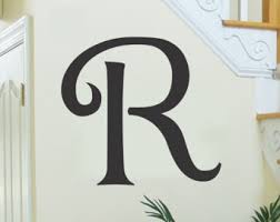 single letter monogram decal initial wall sticker vinyl