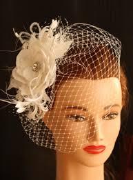 ivory wedding birdcage veil bridal hair flower wedding hair