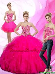 quinceanera pink dresses gorgeous 2016 detachable beaded and ruffles sweetheart quinceanera