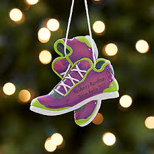 personalized marathon ornament purple running shoes