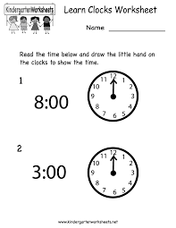 Free Printable Worksheets For Preschool Teachers Learn Clocks Worksheet Free Kindergarten Learning Worksheet For Kids