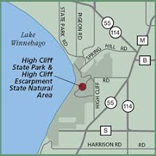 high cliff state park map great wisconsin birding nature trail