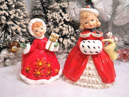Antique Christmas Ornaments 1950s Christmas Shopper Girls Ceramic Figurines Christmas