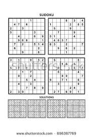 four sudoku puzzles comfortable easy yet stock vector 666818548