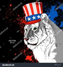 Flag Of Bengal Portrait Tiger Old American Hat Flag Stock Vector 763451866