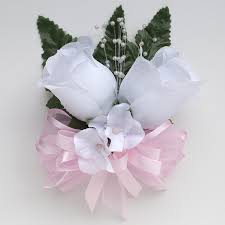 pink corsage silk roses and hydrangea corsage with pink ribbon