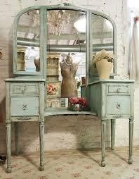 Vanity Folding Mirror Furniture Brown Wooden Vintage Vanity Table With Three Oval