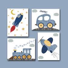 Car Nursery Decor Car Rocket Plane Baby Boy Nursery Decor By Artbynataera